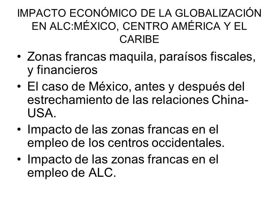 IMPACTO ECONÓMICO DE LA GLOBALIZACIÓN EN ALC:MÉXICO, CENTRO AMÉRICA Y EL CARIBE Zonas francas maquila, paraísos fiscales, y financieros El caso de Méx