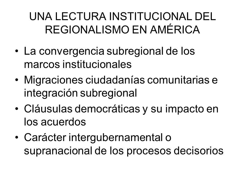 UNA LECTURA INSTITUCIONAL DEL REGIONALISMO EN AMÉRICA La convergencia subregional de los marcos institucionales Migraciones ciudadanías comunitarias e