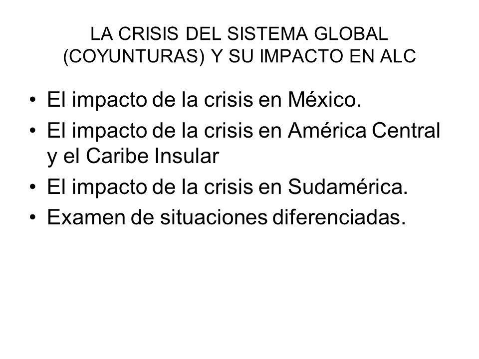 LA CRISIS DEL SISTEMA GLOBAL (COYUNTURAS) Y SU IMPACTO EN ALC El impacto de la crisis en México. El impacto de la crisis en América Central y el Carib