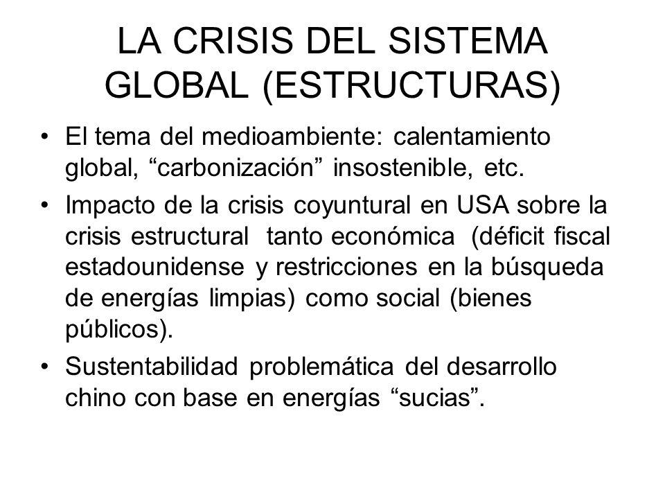 LA CRISIS DEL SISTEMA GLOBAL (ESTRUCTURAS) El tema del medioambiente: calentamiento global, carbonización insostenible, etc. Impacto de la crisis coyu