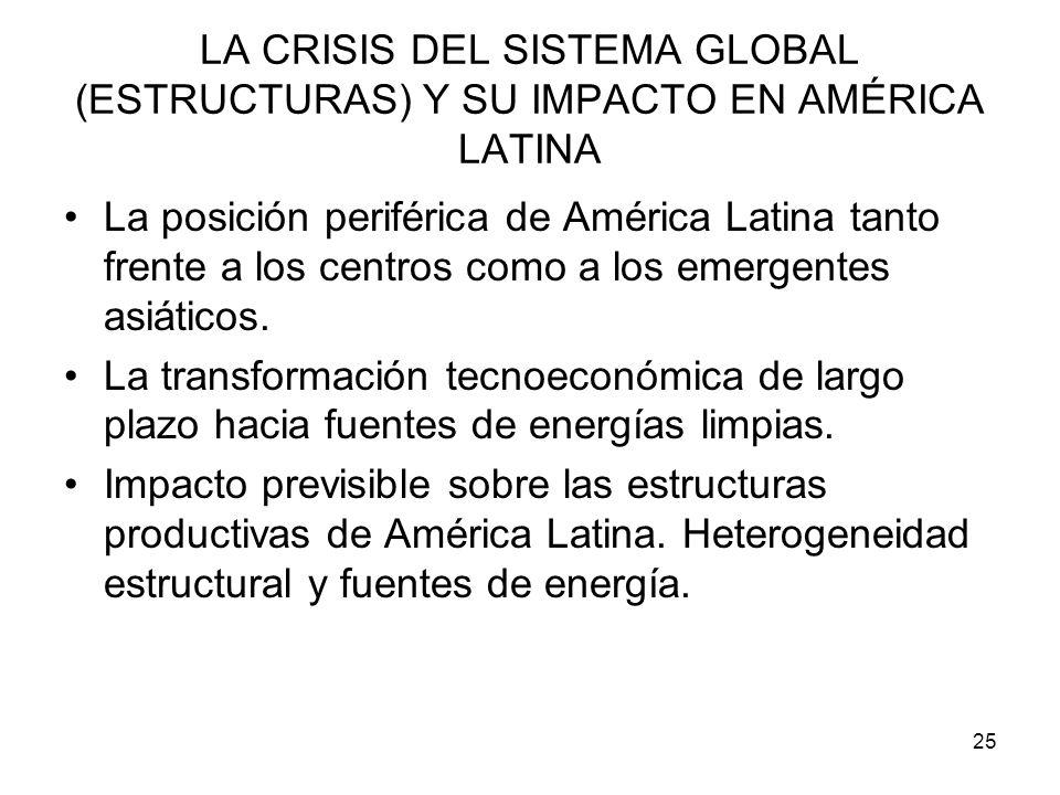 25 LA CRISIS DEL SISTEMA GLOBAL (ESTRUCTURAS) Y SU IMPACTO EN AMÉRICA LATINA La posición periférica de América Latina tanto frente a los centros como