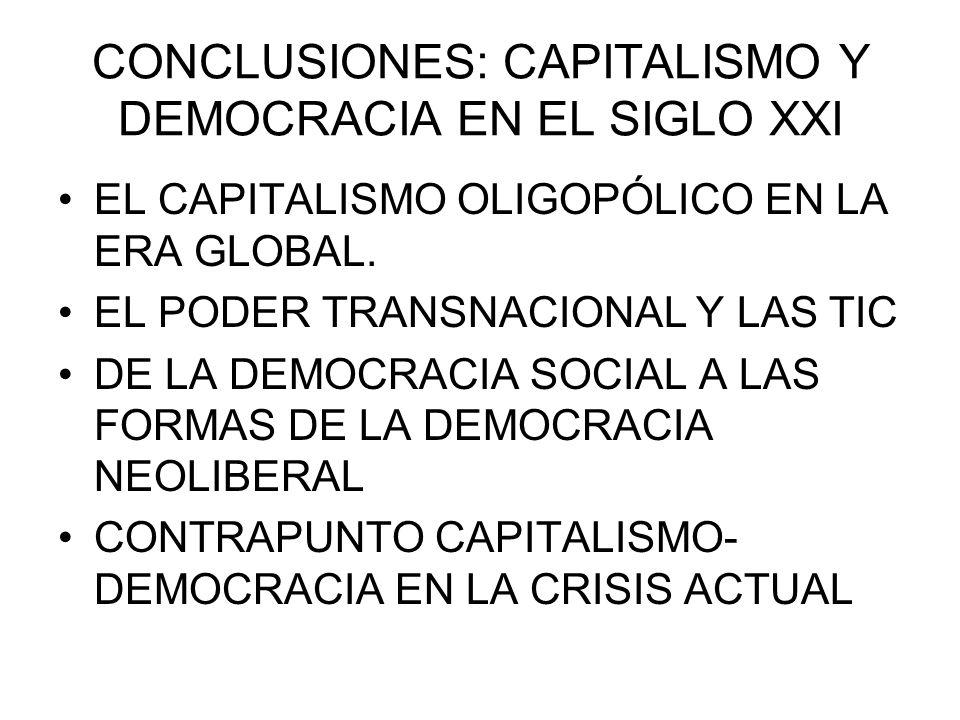 CONCLUSIONES: CAPITALISMO Y DEMOCRACIA EN EL SIGLO XXI EL CAPITALISMO OLIGOPÓLICO EN LA ERA GLOBAL. EL PODER TRANSNACIONAL Y LAS TIC DE LA DEMOCRACIA
