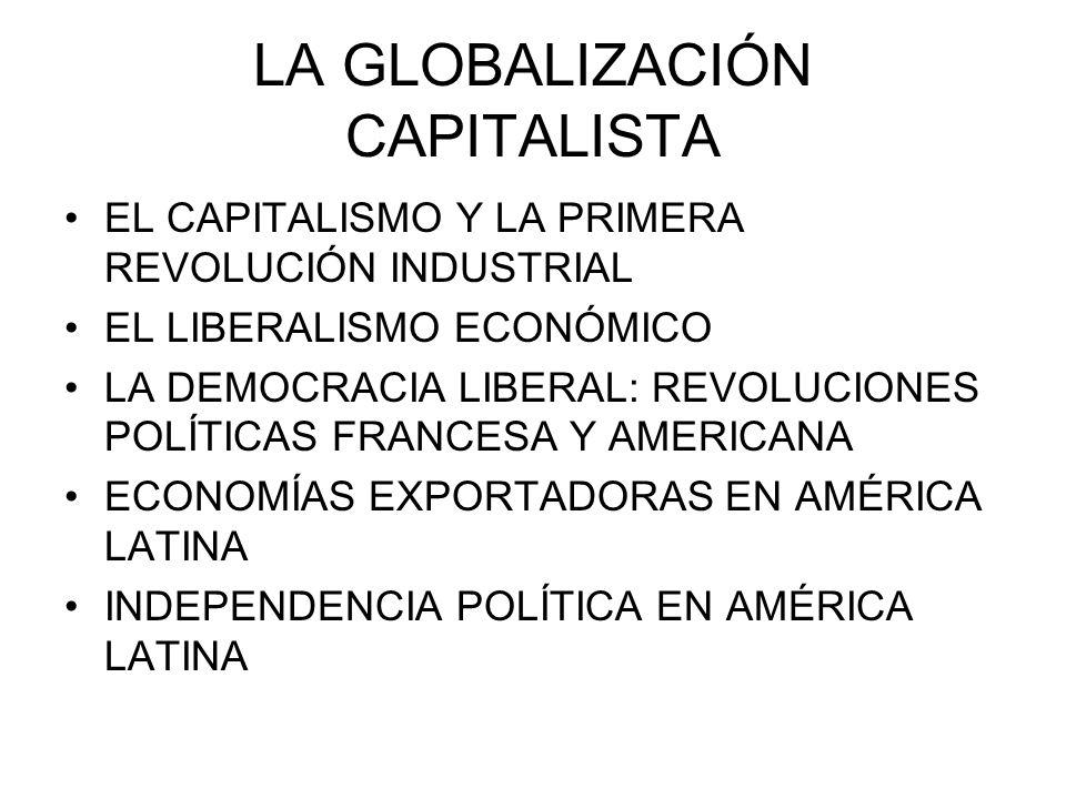 LA GLOBALIZACIÓN CAPITALISTA EL CAPITALISMO Y LA PRIMERA REVOLUCIÓN INDUSTRIAL EL LIBERALISMO ECONÓMICO LA DEMOCRACIA LIBERAL: REVOLUCIONES POLÍTICAS