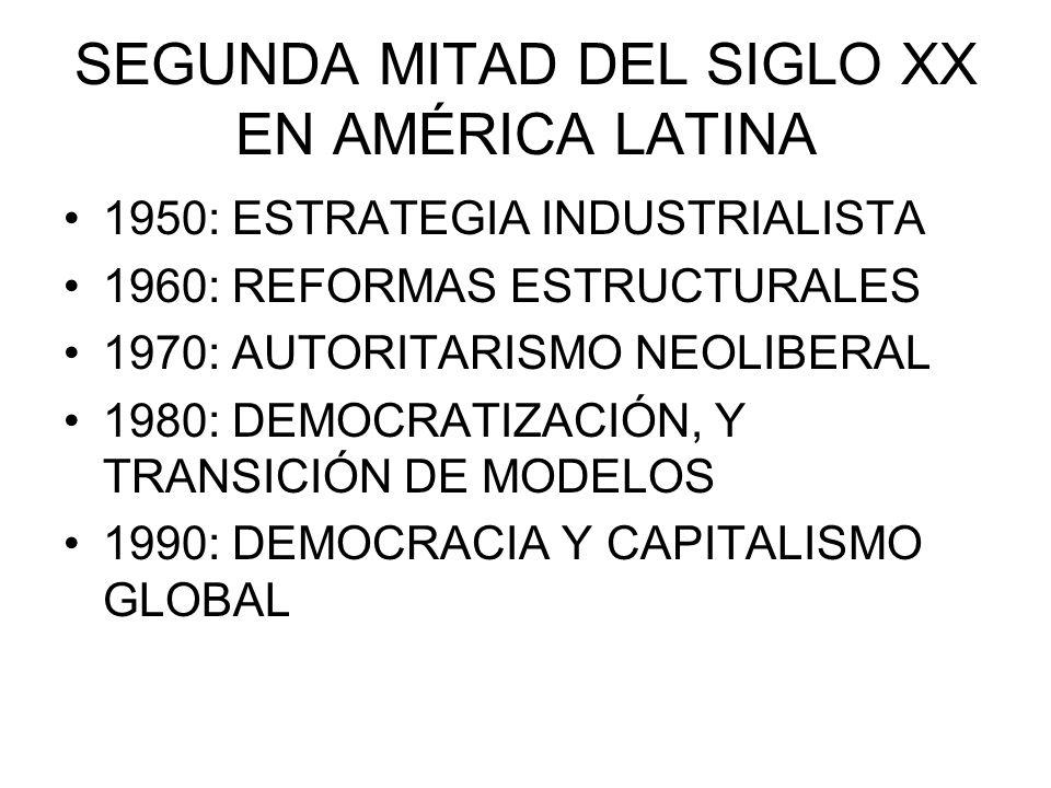 SEGUNDA MITAD DEL SIGLO XX EN AMÉRICA LATINA 1950: ESTRATEGIA INDUSTRIALISTA 1960: REFORMAS ESTRUCTURALES 1970: AUTORITARISMO NEOLIBERAL 1980: DEMOCRA