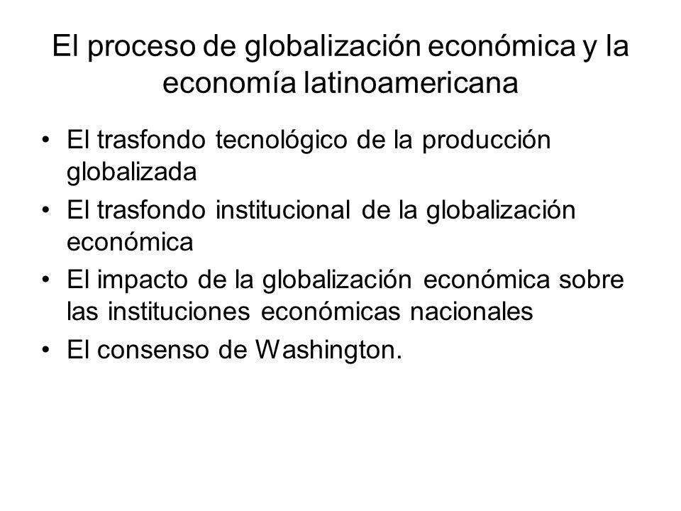 El proceso de globalización económica y la economía latinoamericana El trasfondo tecnológico de la producción globalizada El trasfondo institucional d