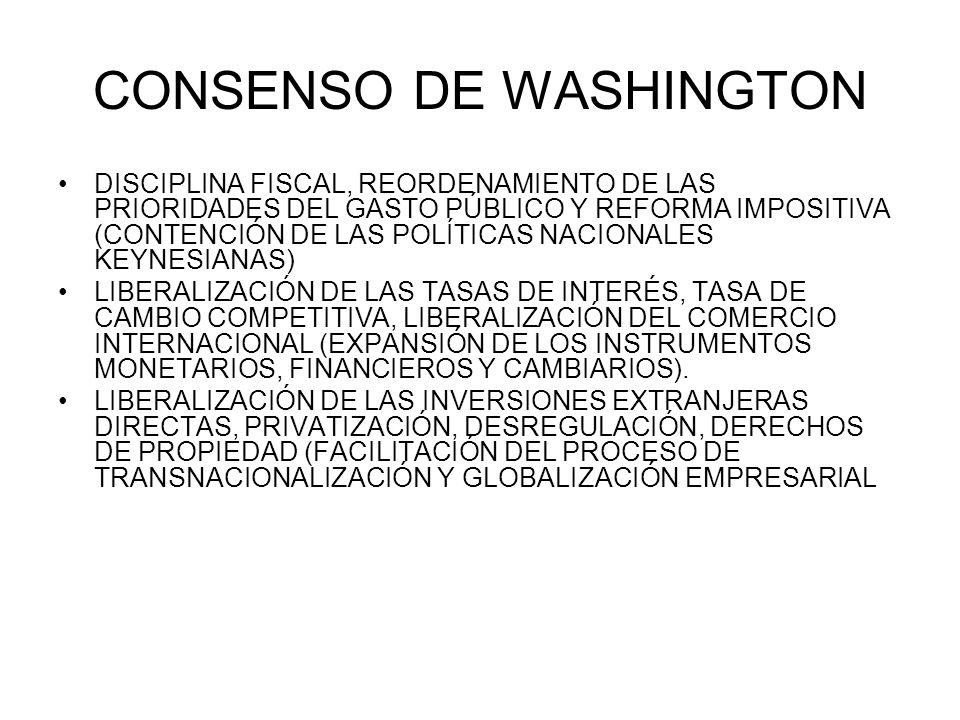 CONSENSO DE WASHINGTON DISCIPLINA FISCAL, REORDENAMIENTO DE LAS PRIORIDADES DEL GASTO PÚBLICO Y REFORMA IMPOSITIVA (CONTENCIÓN DE LAS POLÍTICAS NACION