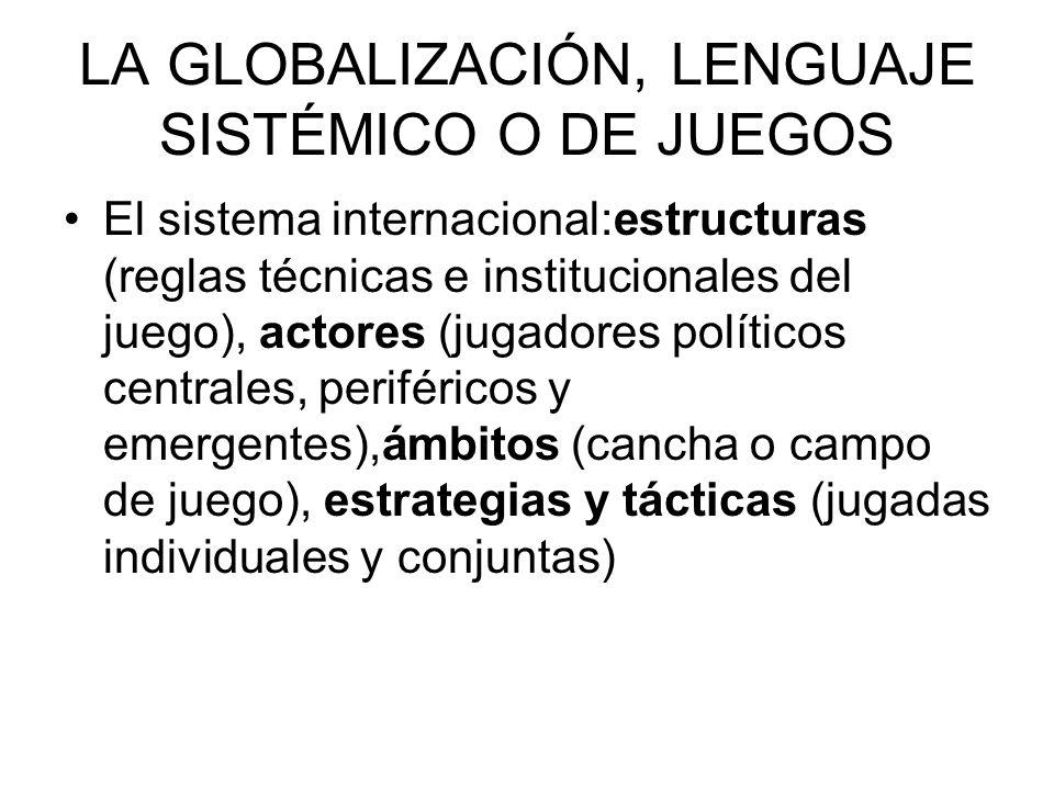 LA GLOBALIZACIÓN, LENGUAJE SISTÉMICO O DE JUEGOS El sistema internacional:estructuras (reglas técnicas e institucionales del juego), actores (jugadore