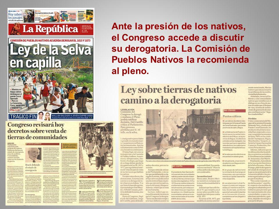 Ante la presión de los nativos, el Congreso accede a discutir su derogatoria. La Comisión de Pueblos Nativos la recomienda al pleno.