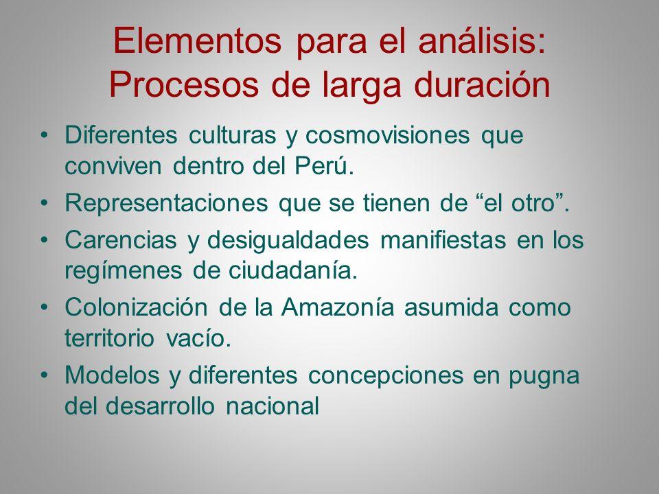 Elementos para el análisis: Procesos de larga duración Diferentes culturas y cosmovisiones que conviven dentro del Perú. Representaciones que se tiene