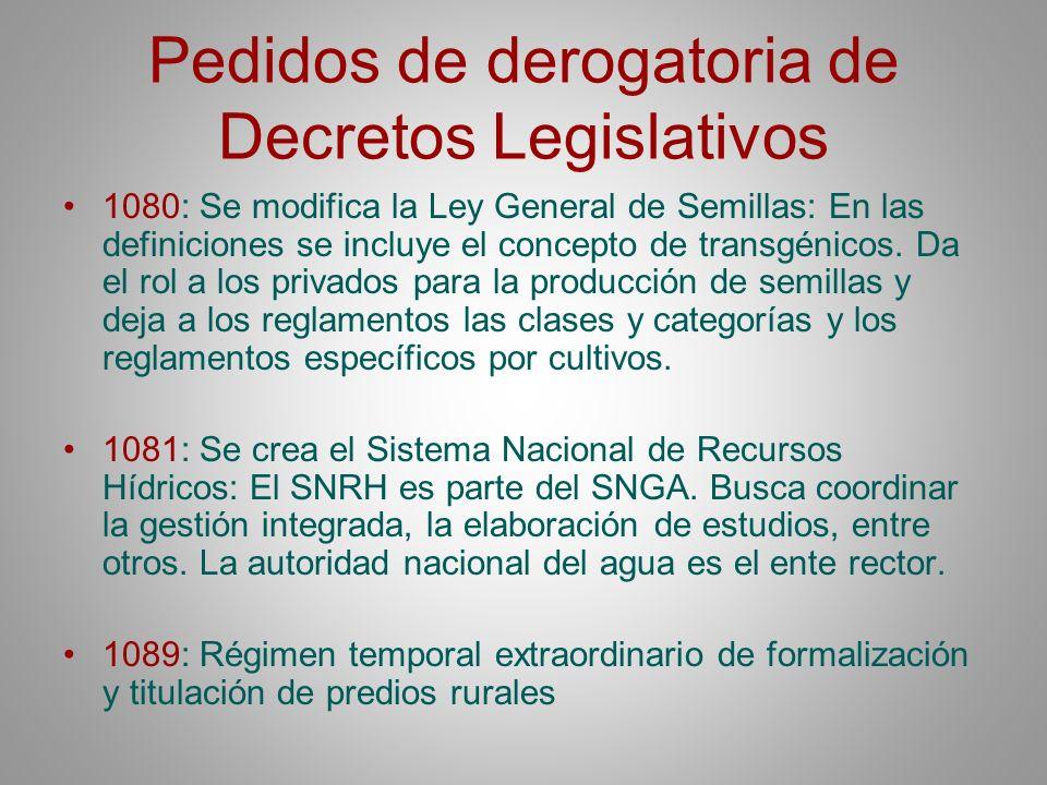 Pedidos de derogatoria de Decretos Legislativos 1080: Se modifica la Ley General de Semillas: En las definiciones se incluye el concepto de transgénic
