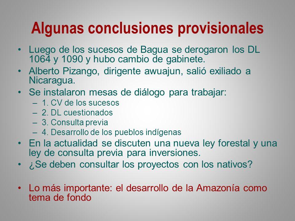 Algunas conclusiones provisionales Luego de los sucesos de Bagua se derogaron los DL 1064 y 1090 y hubo cambio de gabinete. Alberto Pizango, dirigente