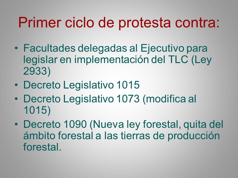 Primer ciclo de protesta contra: Facultades delegadas al Ejecutivo para legislar en implementación del TLC (Ley 2933) Decreto Legislativo 1015 Decreto