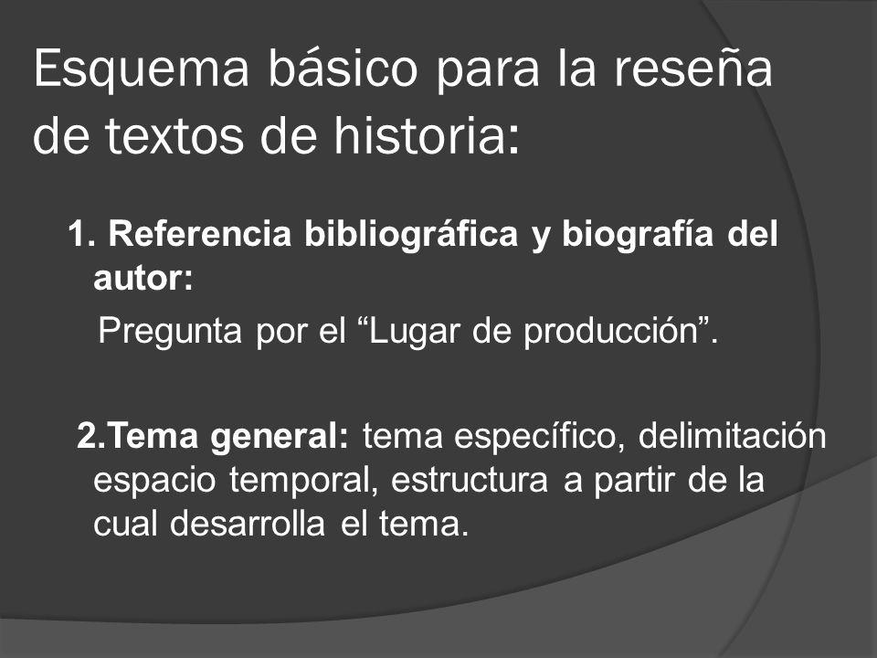 Esquema básico para la reseña de textos de historia: 1. Referencia bibliográfica y biografía del autor: Pregunta por el Lugar de producción. 2.Tema ge