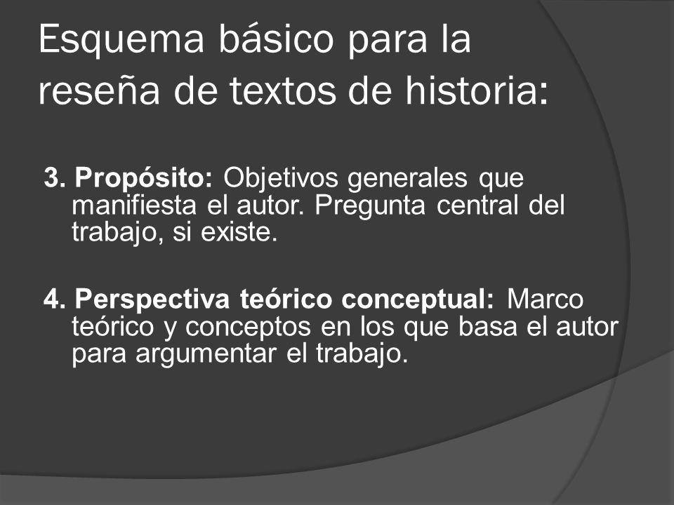 Esquema básico para la reseña de textos de historia: 3. Propósito: Objetivos generales que manifiesta el autor. Pregunta central del trabajo, si exist
