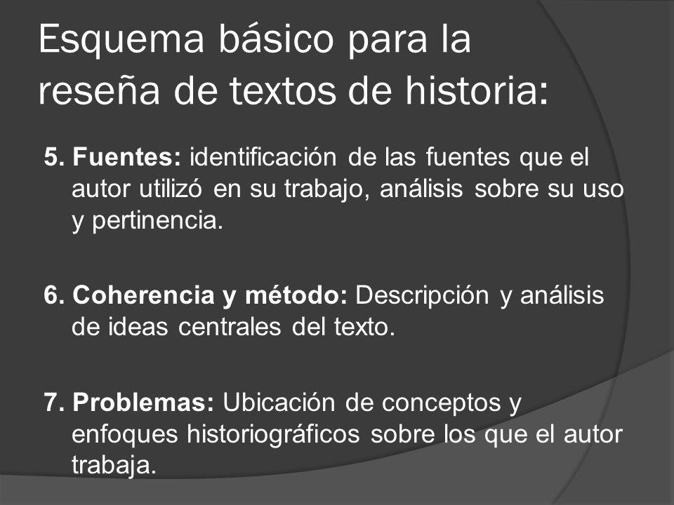 Esquema básico para la reseña de textos de historia: 5. Fuentes: identificación de las fuentes que el autor utilizó en su trabajo, análisis sobre su u