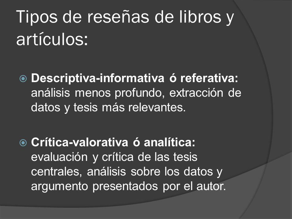 Tipos de reseñas de libros y artículos: Descriptiva-informativa ó referativa: análisis menos profundo, extracción de datos y tesis más relevantes. Crí