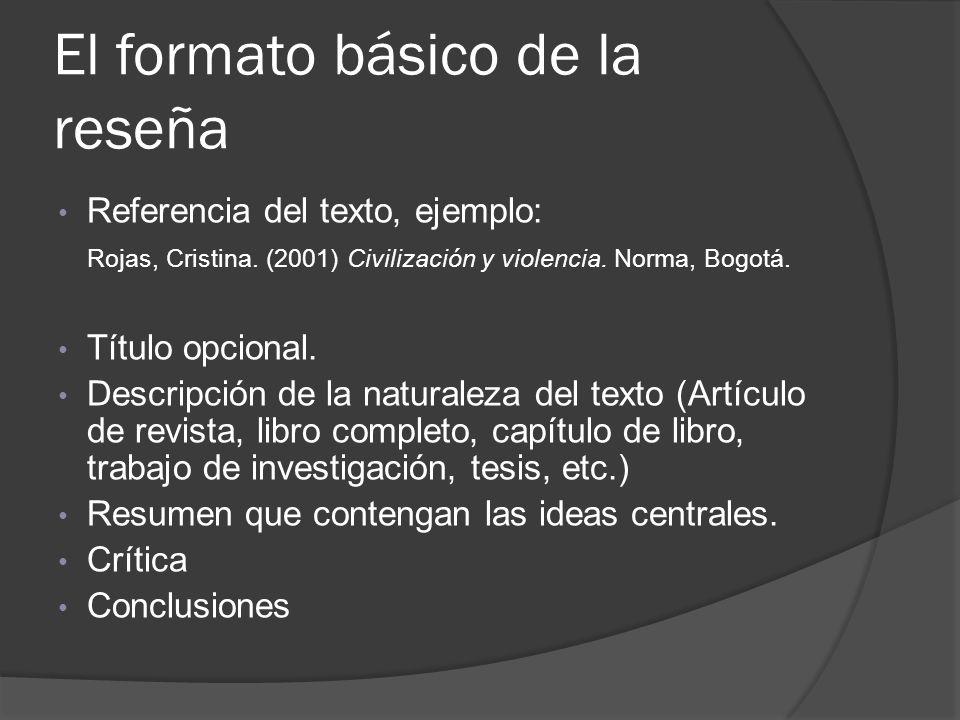 El formato básico de la reseña Referencia del texto, ejemplo: Rojas, Cristina. (2001) Civilización y violencia. Norma, Bogotá. Título opcional. Descri