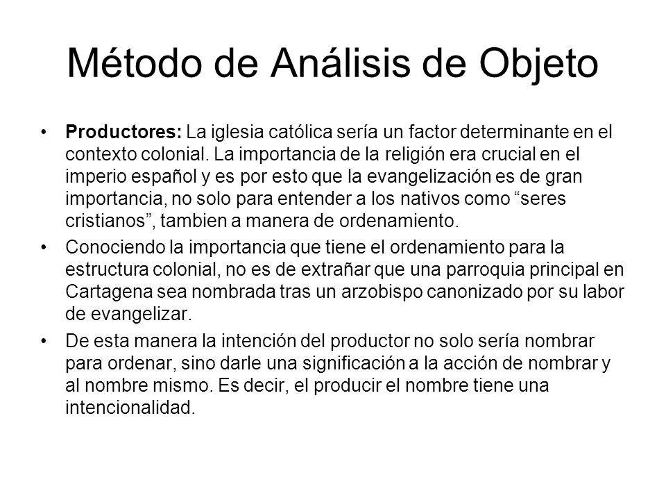 Método de Análisis de Objeto Productores: La iglesia católica sería un factor determinante en el contexto colonial. La importancia de la religión era