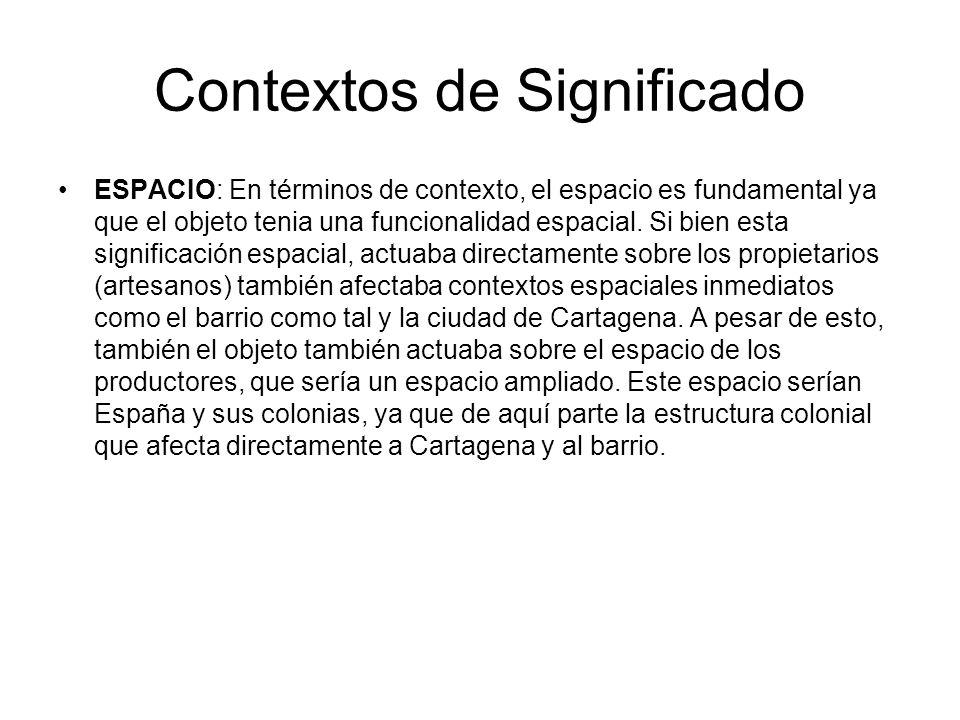 Contextos de Significado ESPACIO: En términos de contexto, el espacio es fundamental ya que el objeto tenia una funcionalidad espacial. Si bien esta s