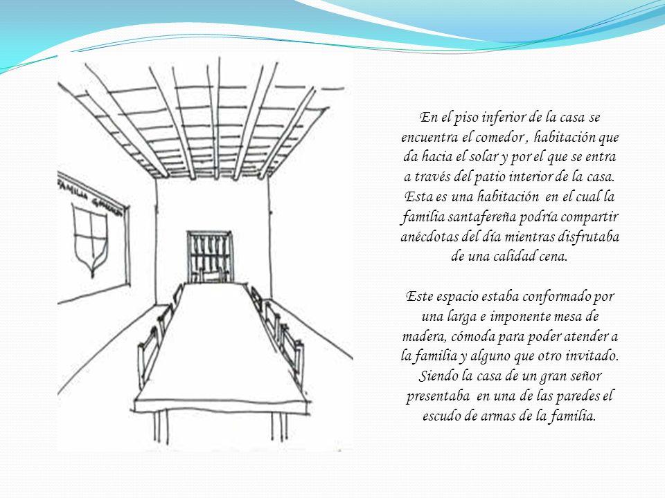 En el piso inferior de la casa se encuentra el comedor, habitación que da hacia el solar y por el que se entra a través del patio interior de la casa.