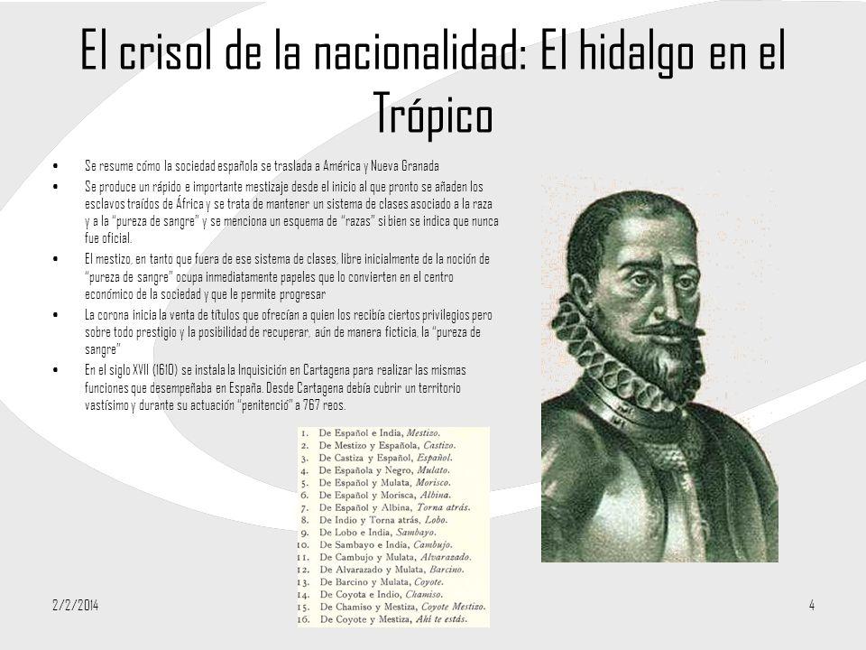 El crisol de la nacionalidad: El hidalgo en el Trópico Se resume cómo la sociedad española se traslada a América y Nueva Granada Se produce un rápido