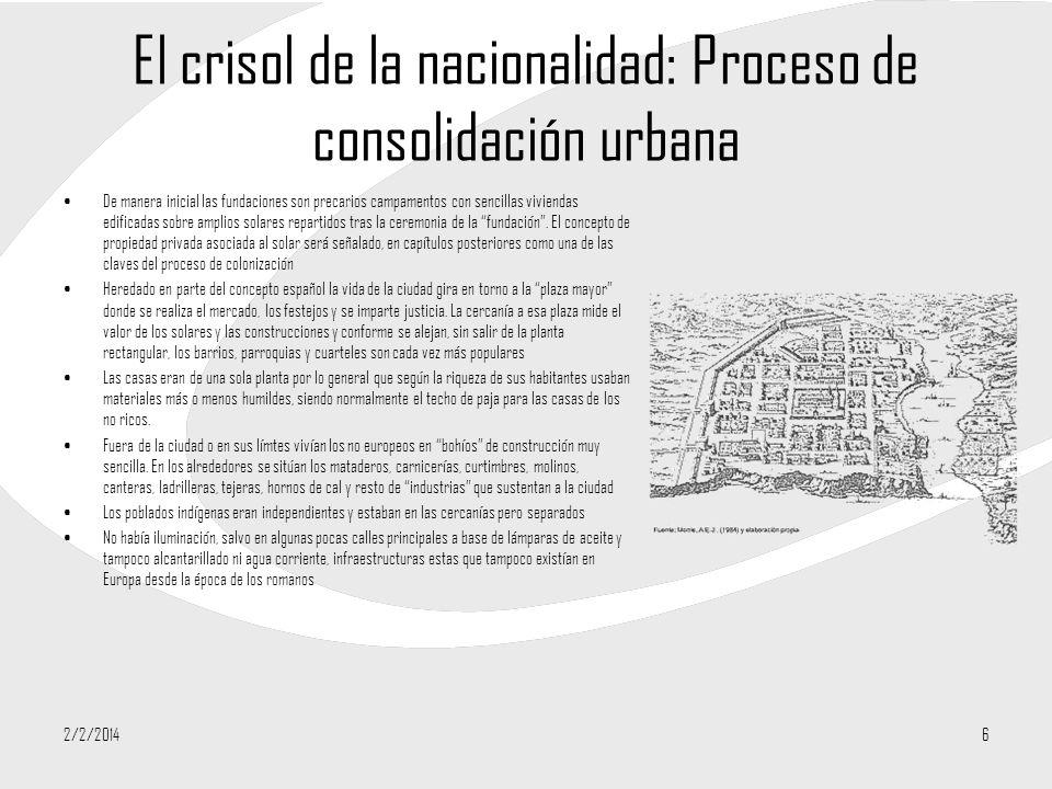 El crisol de la nacionalidad: Proceso de consolidación urbana De manera inicial las fundaciones son precarios campamentos con sencillas viviendas edif
