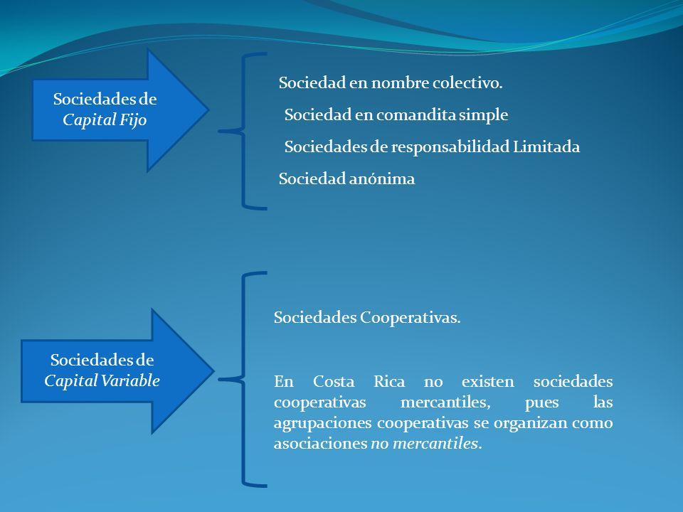 Sociedades de Capital Fijo Sociedades de Capital Variable Sociedad anónima Sociedades Cooperativas. Sociedades de responsabilidad Limitada Sociedad en
