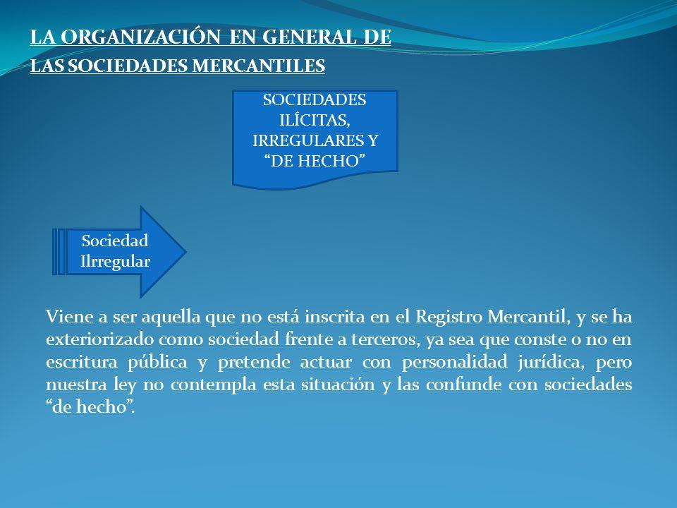 LA ORGANIZACIÓN EN GENERAL DE LAS SOCIEDADES MERCANTILES Viene a ser aquella que no está inscrita en el Registro Mercantil, y se ha exteriorizado como