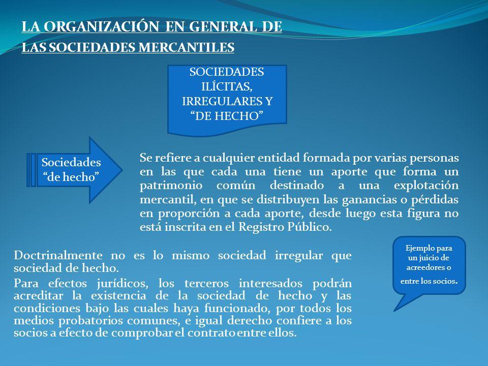 LA ORGANIZACIÓN EN GENERAL DE LAS SOCIEDADES MERCANTILES Se refiere a cualquier entidad formada por varias personas en las que cada una tiene un aport