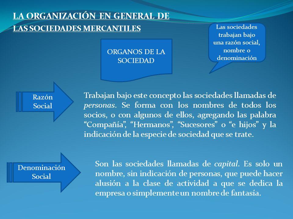 LA ORGANIZACIÓN EN GENERAL DE LAS SOCIEDADES MERCANTILES Trabajan bajo este concepto las sociedades llamadas de personas. Se forma con los nombres de