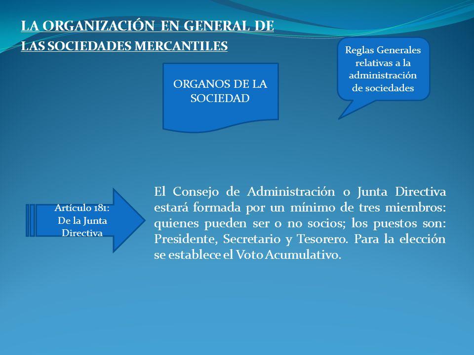 LA ORGANIZACIÓN EN GENERAL DE LAS SOCIEDADES MERCANTILES El Consejo de Administración o Junta Directiva estará formada por un mínimo de tres miembros: