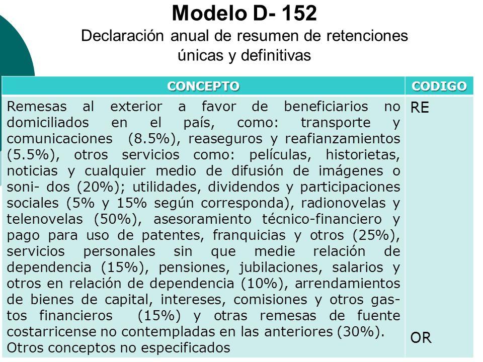 Modelo D- 152 Declaración anual de resumen de retenciones únicas y definitivas CONCEPTOCODIGO Remesas al exterior a favor de beneficiarios no domicili