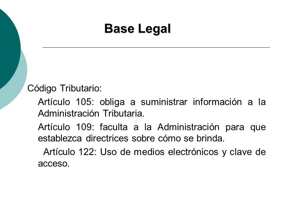 BaseLegal Base Legal Código Tributario: Artículo 105: obliga a suministrar información a la Administración Tributaria. Artículo 109: faculta a la Admi