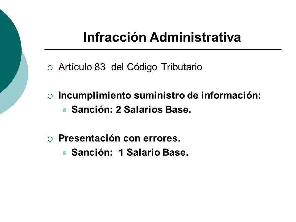 Infracción Administrativa Artículo 83 del Código Tributario Incumplimiento suministro de información: Sanción: 2 Salarios Base. Presentación con error
