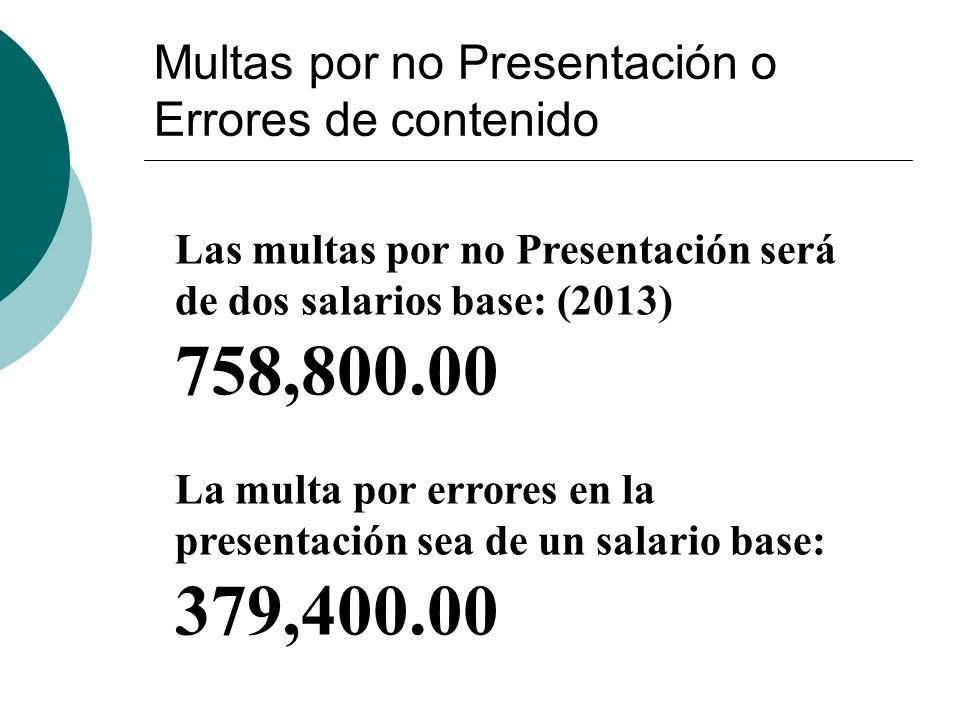 Multas por no Presentación o Errores de contenido Las multas por no Presentación será de dos salarios base: (2013) 758,800.00 La multa por errores en