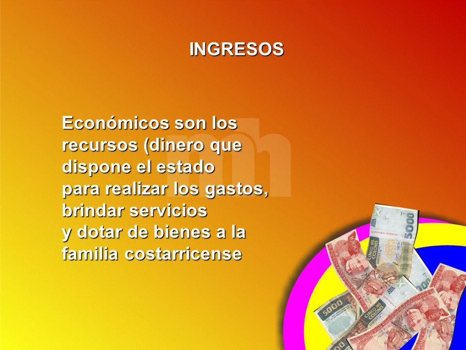 Económicos son los recursos (dinero que dispone el estado para realizar los gastos, brindar servicios y dotar de bienes a la familia costarricense ING