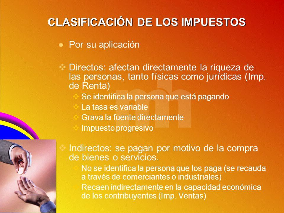 CLASIFICACIÓN DE LOS IMPUESTOS Por su aplicación Directos: afectan directamente la riqueza de las personas, tanto físicas como jurídicas (Imp. de Rent