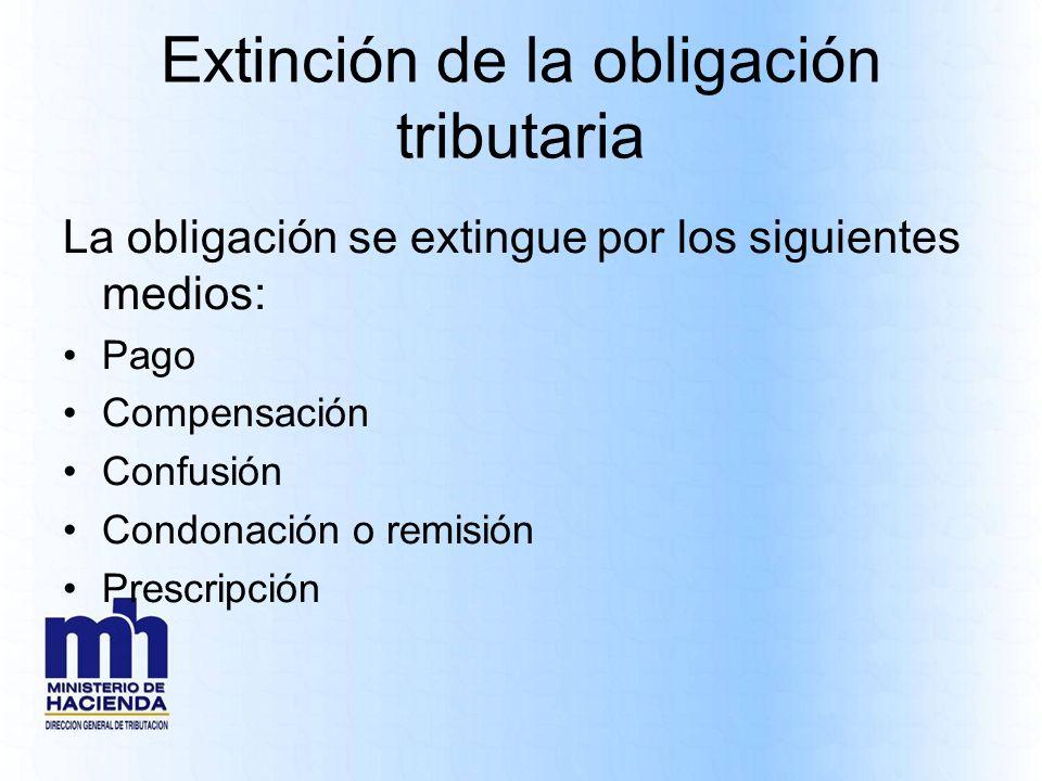 Extinción de la obligación tributaria La obligación se extingue por los siguientes medios: Pago Compensación Confusión Condonación o remisión Prescrip
