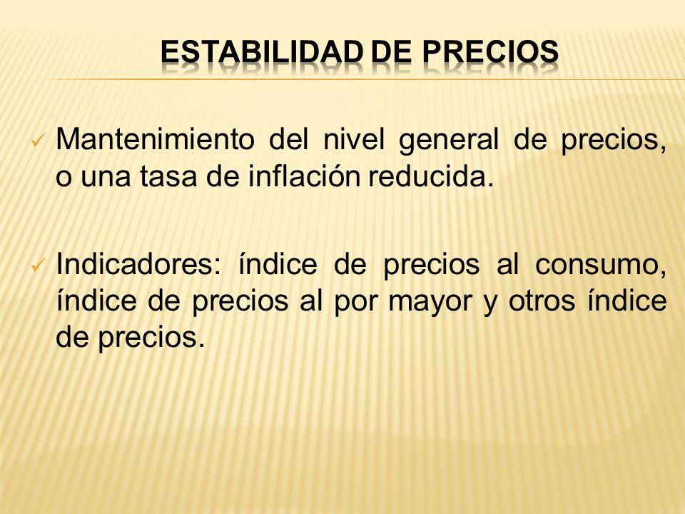 Mantenimiento del nivel general de precios, o una tasa de inflación reducida. Indicadores: índice de precios al consumo, índice de precios al por mayo