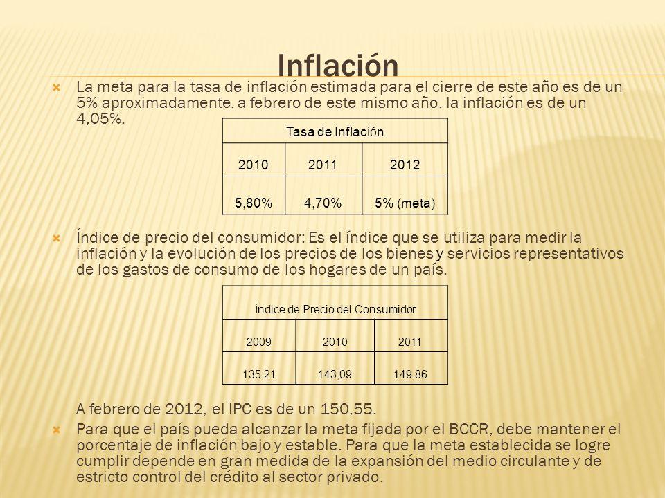 Inflación La meta para la tasa de inflación estimada para el cierre de este año es de un 5% aproximadamente, a febrero de este mismo año, la inflación