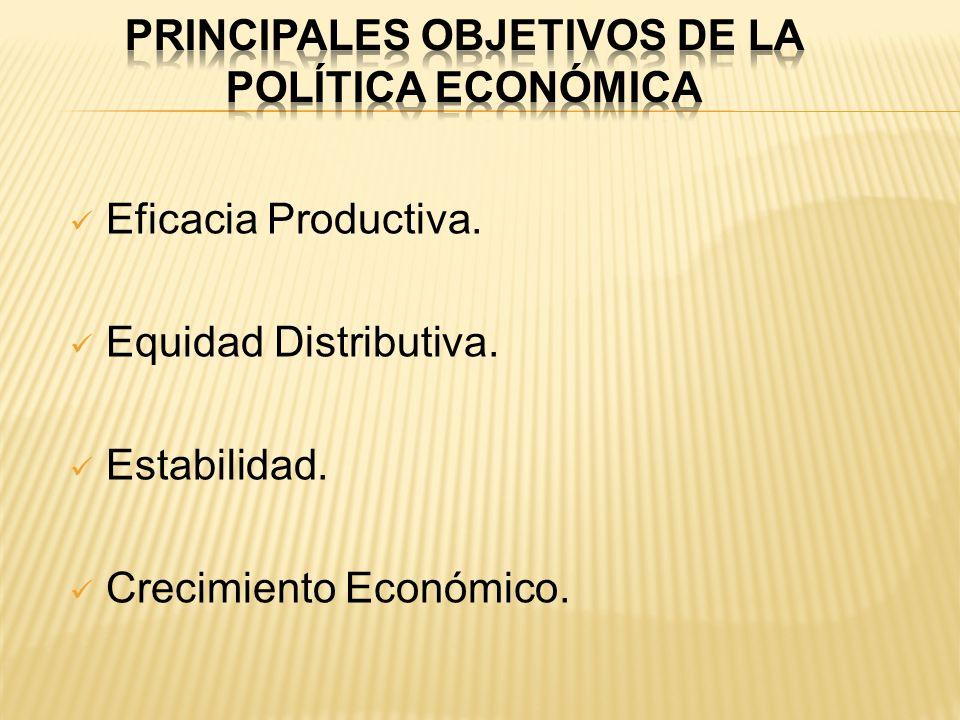 Eficacia Productiva. Equidad Distributiva. Estabilidad. Crecimiento Económico.