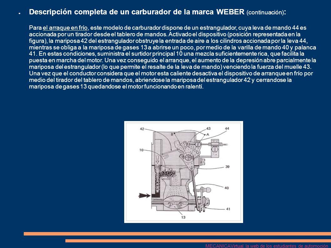 Descripción completa de un carburador de la marca WEBER (continuación) : Para el arraque en frío, este modelo de carburador dispone de un estrangulado