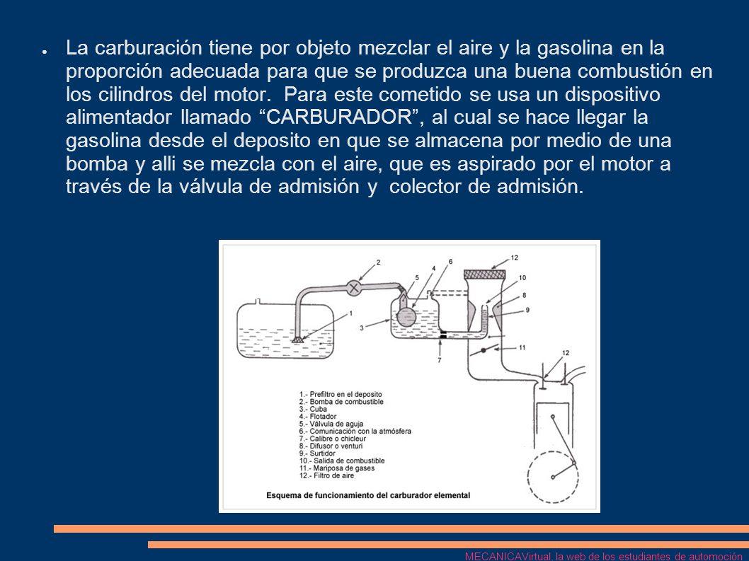 La carburación tiene por objeto mezclar el aire y la gasolina en la proporción adecuada para que se produzca una buena combustión en los cilindros del