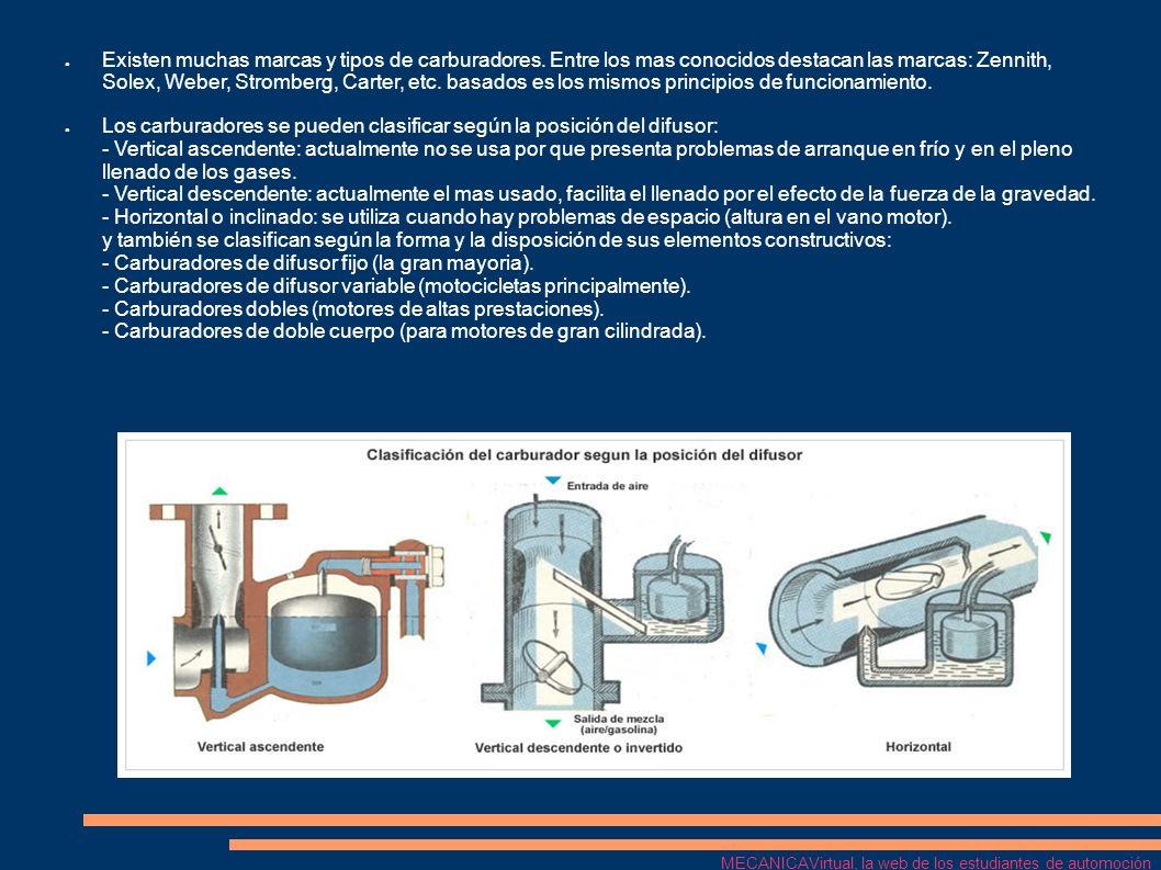 Reglaje del carburador Consiste en ajustar el carburador con el fin de que proporcione la mezcla de aire gasolina suficiente para que el motor no se pare ni funcione a tirones.