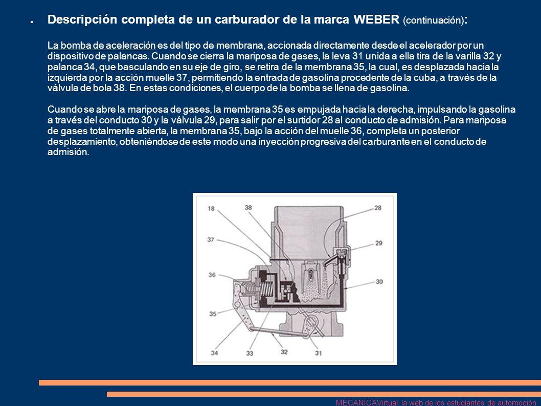Descripción completa de un carburador de la marca WEBER (continuación) : Para el arraque en frío, este modelo de carburador dispone de un estrangulador, cuya leva de mando 44 es accionada por un tirador desde el tablero de mandos.