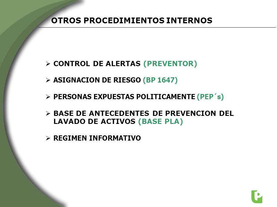 CONTROL DE ALERTAS (PREVENTOR) ASIGNACION DE RIESGO (BP 1647) PERSONAS EXPUESTAS POLITICAMENTE (PEP´s) BASE DE ANTECEDENTES DE PREVENCION DEL LAVADO D