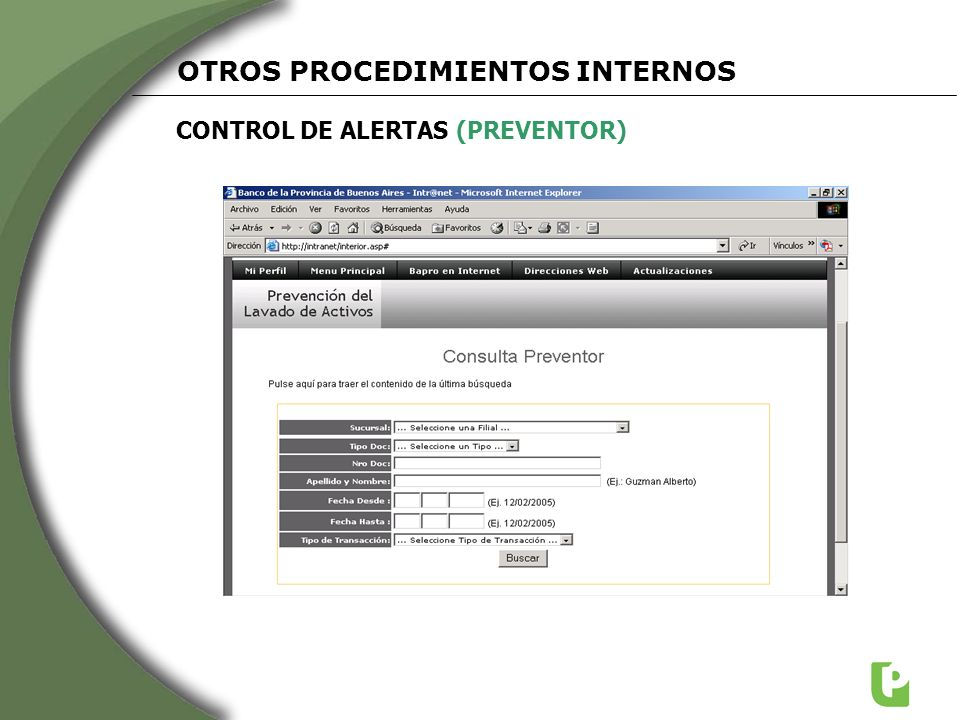 CONTROL DE ALERTAS (PREVENTOR) OTROS PROCEDIMIENTOS INTERNOS