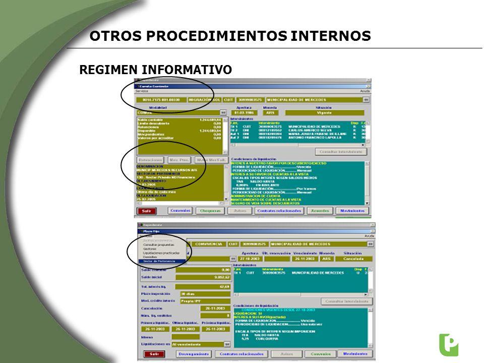 REGIMEN INFORMATIVO OTROS PROCEDIMIENTOS INTERNOS