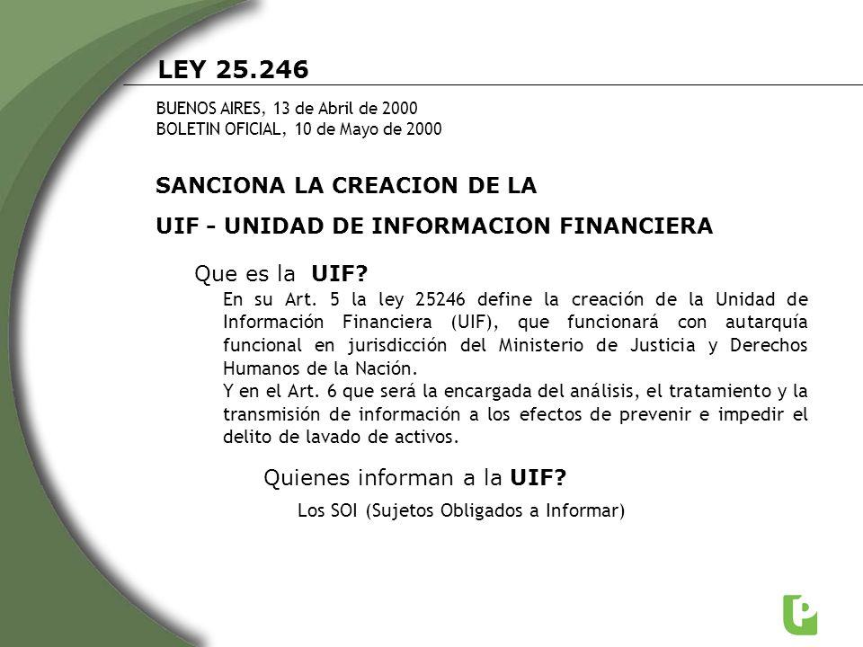 LEY 25.246 BUENOS AIRES, 13 de Abril de 2000 BOLETIN OFICIAL, 10 de Mayo de 2000 SANCIONA LA CREACION DE LA UIF - UNIDAD DE INFORMACION FINANCIERA Que
