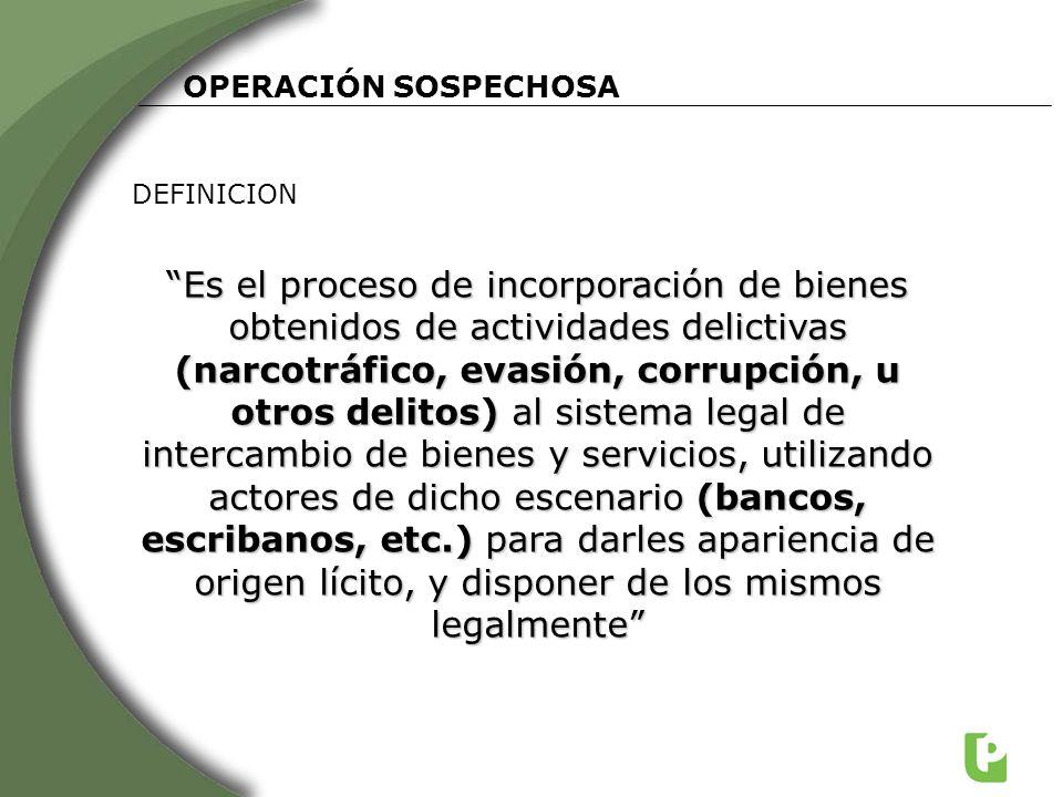 OPERACIÓN SOSPECHOSA DEFINICION Es el proceso de incorporación de bienes obtenidos de actividades delictivas (narcotráfico, evasión, corrupción, u otr